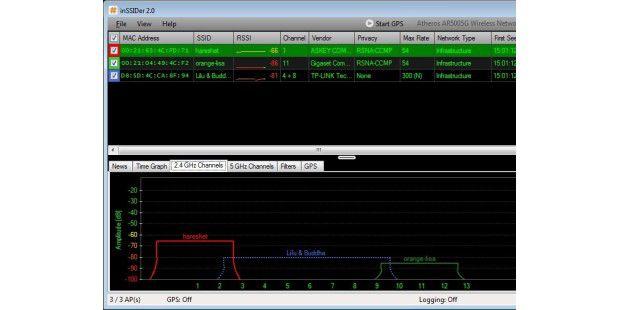 inSSIDer 2.0.7 in Aktion: Die Freeware für Windows zeigtMAC-Adressen von Routern in Reichweite