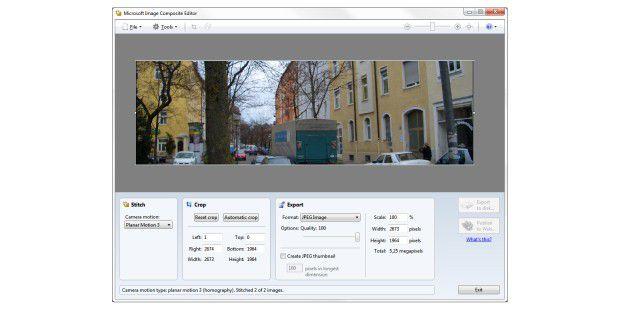 Image Composite Editor setzt mehrere Fotos zu einemgrößeren Bild zusammen.