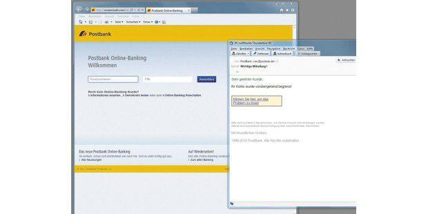 Phishing: Die Fälschungen von E-Mails und Internetseitenwerden immer besser, wie diese nachgemachte Seite der Postbankzeigt.