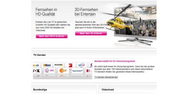 Telekom Werbung für das Entertain-Angebot: Mit DSL lassensich viele Sender auch einfach auf dem heimischen PC ansehen undaufnehmen.