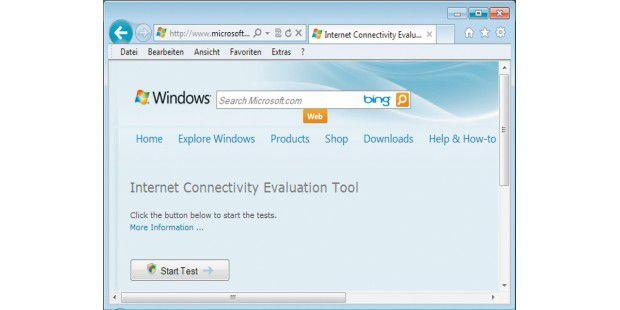 Microsoft bietet ein Browser-basiertes Tool an, das perActive-X eine Reihe von Tests startet und beispielsweise mehrereDutzend Verbindungen aufbaut.