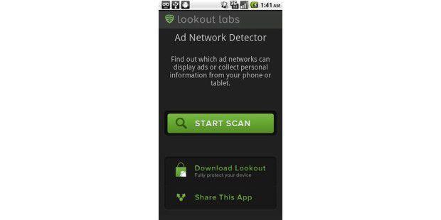 Die App Lookout Ad Network Detector findet neugierigeWerbe-Apps.