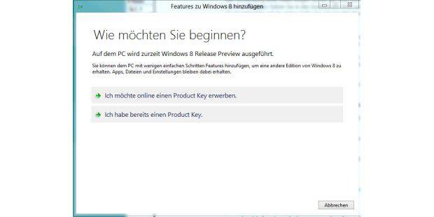 Windows 8: Der Dialog zum Hinzufügen einer neuenFunktion
