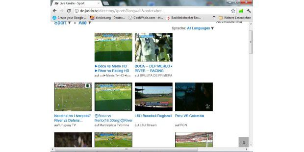 Justin.tv ist vor allem beliebt für die (illegale)Übertragung von Sportveranstaltungen.