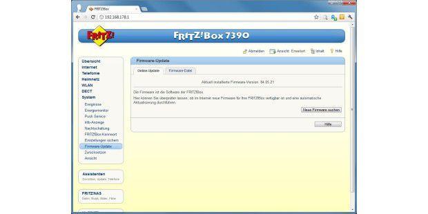 Das Fritz!Box-Update lässt sich einfach und schnell überdie Fritz!Box-Oberfläche durchführen.