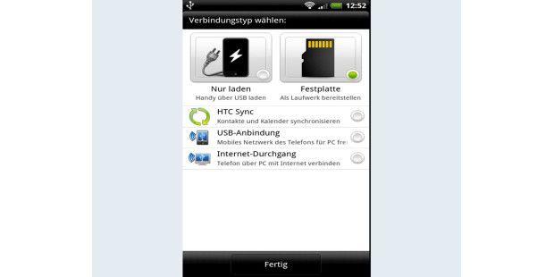 """Im Android-Modus """"Festplatte"""" binden Sie denTelefonspeicher als Wechsellaufwerk in Windows ein."""