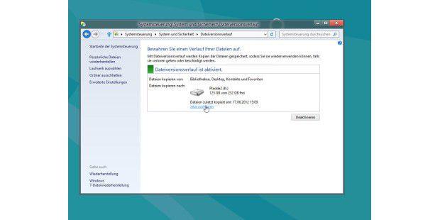 Auch das Wiederherstellen von Dateien, die versehentlichoder durch einen Defekt verloren gingen, ist bei beidenWindows-8-Versionen als Dateiversionsverlauf zu finden.