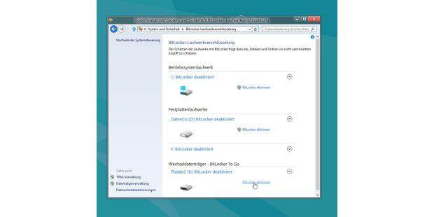 """Profi-Funktion, die bei Windows 8 Pro zu finden sein wird:Die Verschlüsselung von Laufwerken mit Bitlocker und """"Bitlocker toGo""""."""