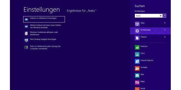 """Ersetzt das """"Anytime Upgrade"""" und kann das Mediacenter aufWindows 8 bringen: Die Funktion """"Features zu Windows 8hinzufügen""""."""