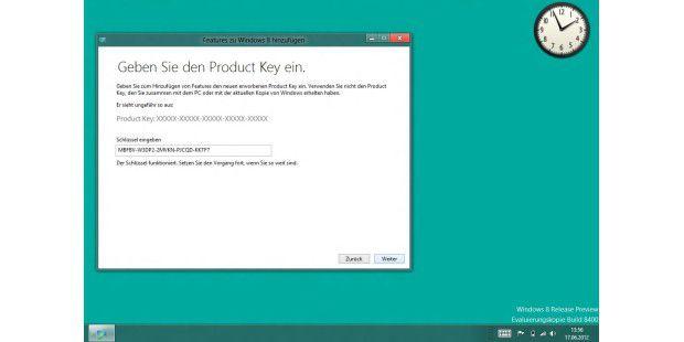 Der Schlüssel (wie in diesem Fall für das Update auf dasMediacenter für das Prerelease) entscheidet, was zusätzlichinstalliert wird.