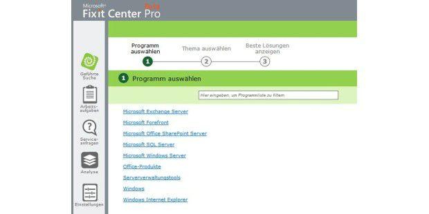 Mit Microsofts Web-App Fix it Center Pro finden und lösenSie häufige PC-Probleme.