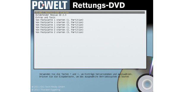 """Wenn der PC von der Rettungs-DVD startet, sehen Sie einAuswahlmenü. Gehen Sie mit den Pfeiltasten auf """"PC-WELTNotfall-DVD"""" und drücken Sie die Enter-Taste, um das System zustarten."""