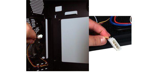 Die Molex-Stecker versorgen Lüfter mit Strom.