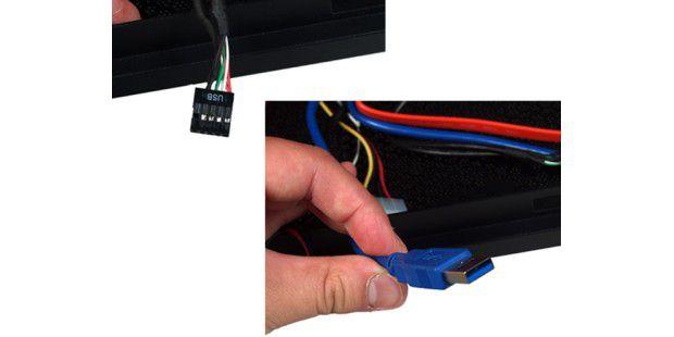 Links USB 2.0 fürs Mainboard und rechts USB 3.0 fürsFrontpanel (über das Back-Panel).