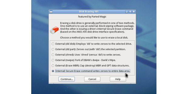 Parted Magic: Diese Option erlaubt einen ATA SecureErase