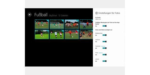 """Die App """"Fotos"""" kann verschiedene Bildquellenzusammenfassen: Welche Quellen das Programm anzeigen soll, lässtsich in den Einstellungen festlegen."""
