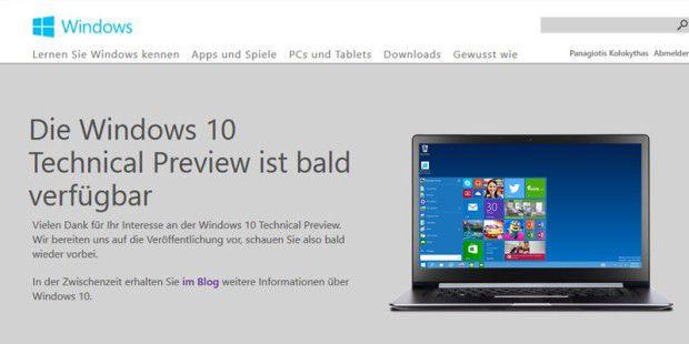 Windows 10 Techical Preview: Hier geht´s zum Download