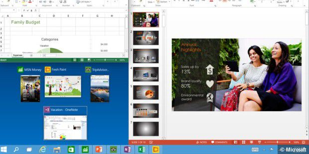 "Windows 10: Drei Programme am Desktop ""gesnapt"" plus App-Empfehlungen"
