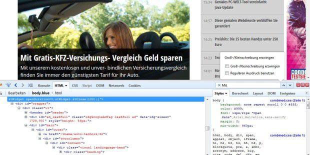 Mit dem Firefox-Addon Firebug analysieren Sie Webseiten bis ins kleinste Detail. Hier die Themenseiten von Auto & Technik auf pcwelt.de.