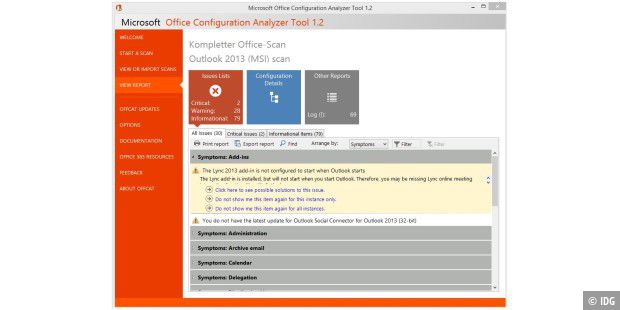 Office Configuration Analyzer Tool: Office- und Outlook