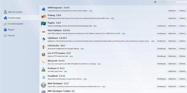 Firefox besitzt einen praktischen Addons-Manager