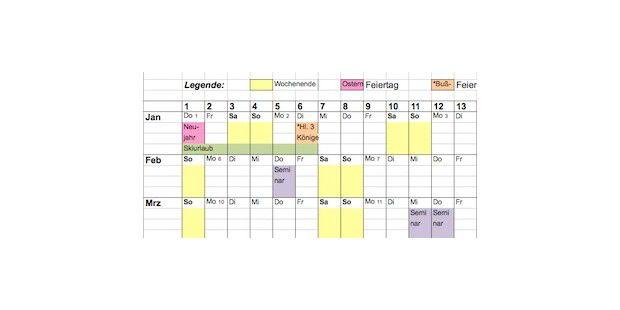 Excel Jahresplaner