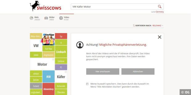 Swisscows sucht anonym nach Youtube-Videos