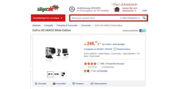 Die einfachste Hero 3, White Edition genannt, kostet nurgut die Hälfte des GoPro-Topmodells, filmt aber immerhin in 1080p.Für die meisten Zwecke reicht dies völlig aus.