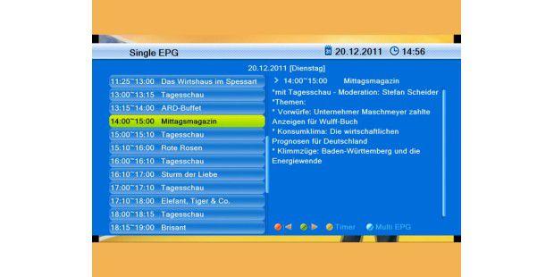 In der Einzelansicht liefert der EPG des Smart CX 70 zurProgramminfo auch eine kleine Inhaltsangabe.