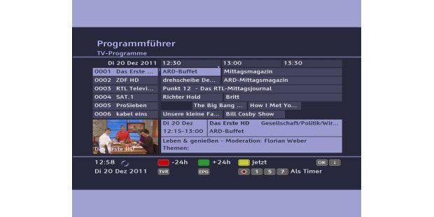 Der Technotrend TT-micro C832 HDTV informiert mit ruhigenFarben und klarem Stil über das aktuelle Programm.