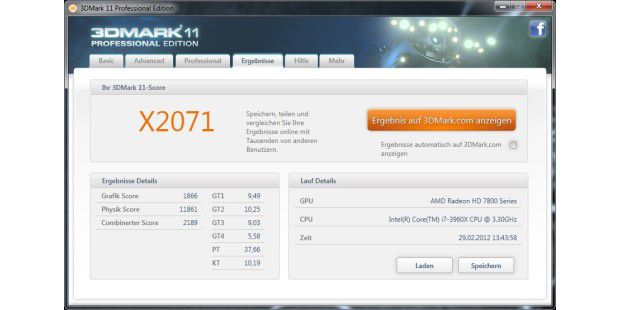 Gesamtergebnis des Benchmarks 3D Mark 11 der AMD Radeon HD7870.
