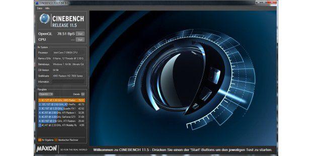 Der OpenGL-Test von Cinebench 11.5 mit der AMD Radeon HD7870