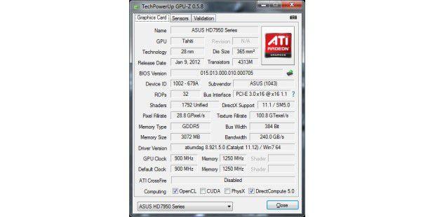 GPU-Z: Asus HD 7950 DirectCU 2 TOP