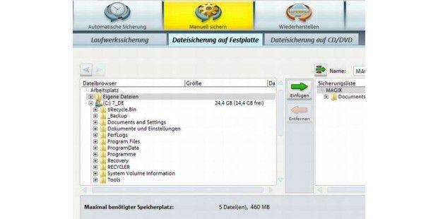 Das Backup-Programm PC Backup MX bietet auch die&#x20