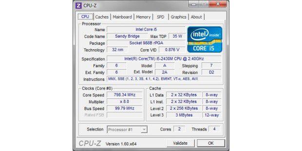 Toshiba Qosmio DX730-10K: Als CPU kommt der Intel i5-2430Mzum Einsatz - ein Prozessor für Notebooks.