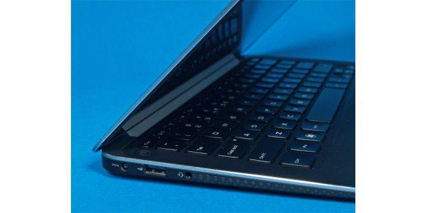 Das Dell XPS 13 bietet nur wenig Anschlüsse - links zumBeispiel USB 2.0 und einen Audioausgang