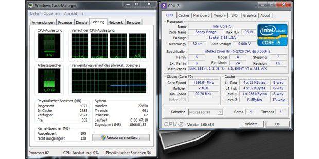 Der Takt fährt herunter auf rund 1,6 GHz, wenn sich der PCim Leerlauf befindet.