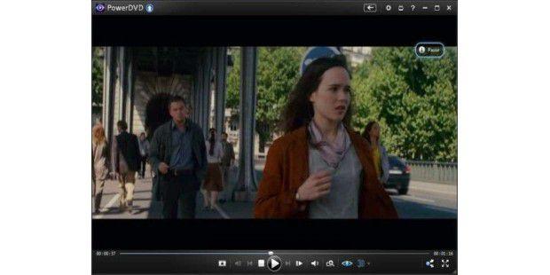 Ein Mausklick auf das 3D-Symbol in der Menüleiste unterhalb des Videos genügt, und PowerDVD 12 Ultra errechnet in Echtzeit eine 3D-Ansicht