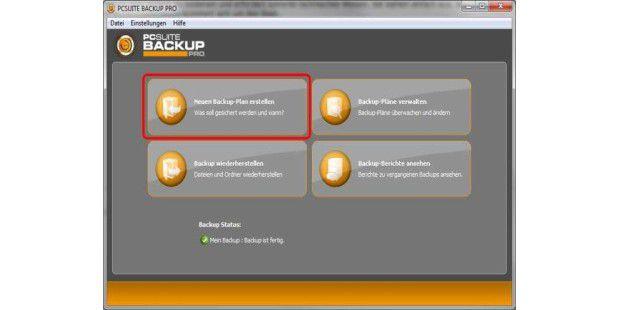 Die Bedienerführung von PC-Suite Backup Pro ist einfach und übersichtlich