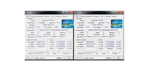 Intel Core i7-3770K: Frequenzen im Leerlauf und unterVolllast