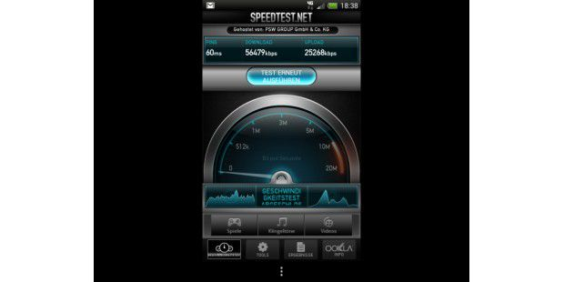 Speedtest-Ergebnisse des HTC One XL
