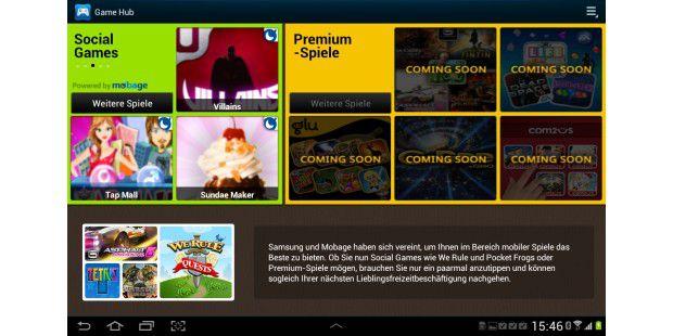Im Games Hub ist noch nicht viel los: Premium-Titel sollenerst kommen