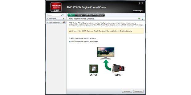 AMD kombiniert die integrierte Grafik mit der dediziertenGrafikkarte.