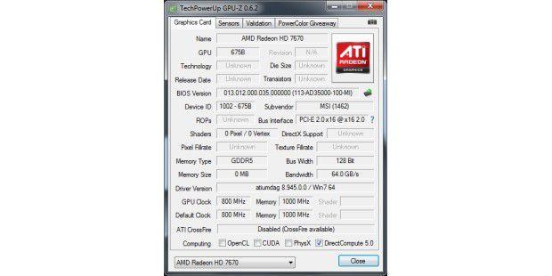 GPU-Z erkennt nicht alle Details derGrafikkarte.