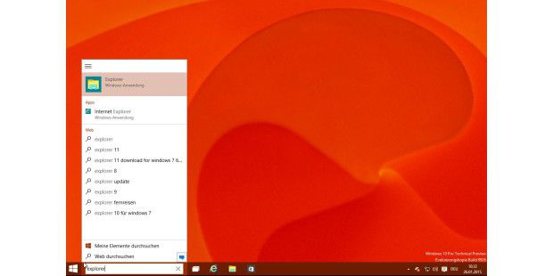 Windows 10 TP Build 9926: Das Sucheingabefeld