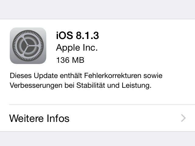 Das Update auf iOS 8.1.3 ist da - Macwelt on