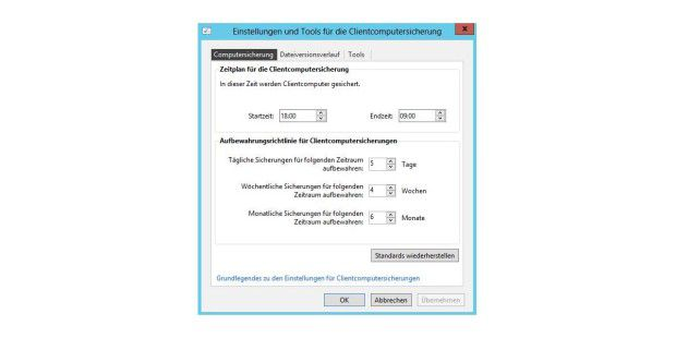 Windows Server 2012 Essentials kann komplette Clientcomputer sichern