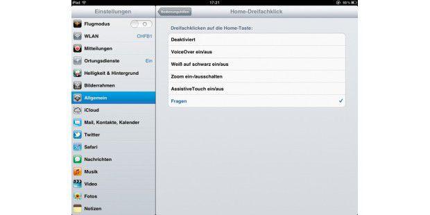 In den iPad-Einstellungen lassen sich Aktionen für denDreifachklick des Home-Buttons konfigurieren.