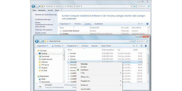"""Schriften lassen sich in Windows 7 im Ordner""""C:\Windows\Fonts"""" löschen. Wurden sie vorab in einem separatenOrdner gesichert, können Sie sie bei Bedarf wiederinstallieren."""