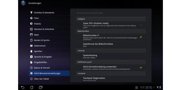 Die Bildschirm-Helligkeit des Asus Transformer Prime lässtsich mit der Outdoor-Option im Menü auf über 400 cd/qmhochtreiben